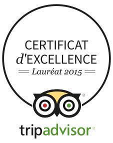"""L'hôtel Saint Christophe """"certificat d'excellence"""" TripAdvisor 2015"""